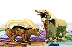 Bild zeigt Bulle und Bär in Gold, die auf Geldscheinen stehen